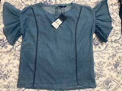Новая джинсовая блузка, футболка с воланами