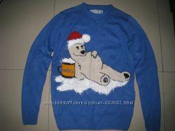 Фирменный новогодний свитер. кофта размер XS 46-50 р-р