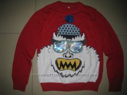 Фирменный M&S новогодний свитер. джемпер для мальчика 9-10л. 134-140см