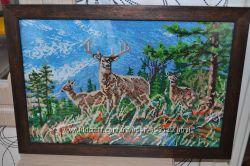 Картина вышита чешским бисером Благородные олени