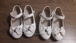 Белые лакированые туфельки, стелька 18см