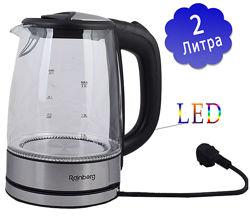 Электрический чайник Rainberg RB-703 стеклянный с подсветкой