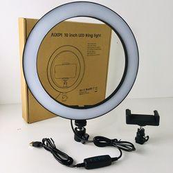 Светодиодная кольцевая лампа с держателем для телефона 26см три режима