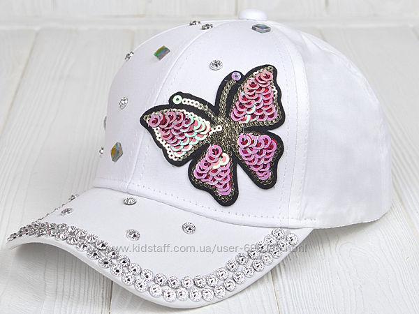 Детская кепка бейсболка для девочки от 3 лет 50 52 с пайетками стразами
