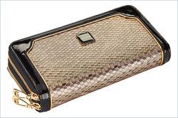 Женский кожаный шикарный кошелёк Moro Jenny. С двумя железными замками.
