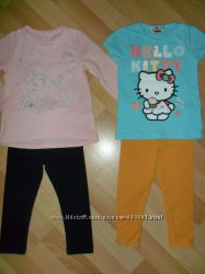 Летние комплекты футболки регланы лосинки р. 92 на 2 года