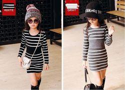 Платье в полоску трикотажное для девочек