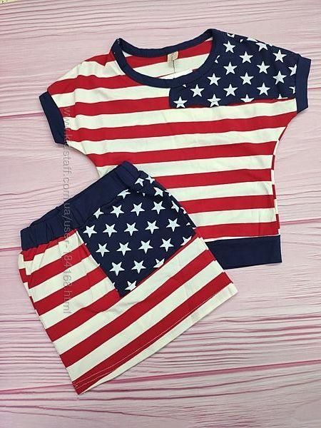 Летний комплект футболка и юбка в наличии