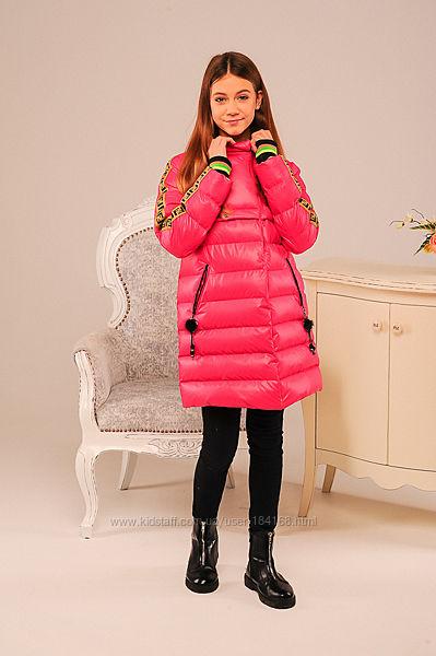 Яркая зимняя куртка для девочек Фаина лимонная и розовая по Скидке