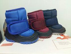 Детские ботинки, дутики зимние для малышей Olaf р. 20-25 синие, бордовые в