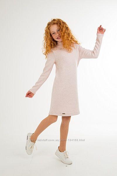 Тёплое платье Блум голубое и пудра для юных леди тм Suzie