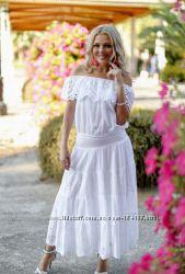 летний женский белый комплект юбка блуза хлопок Indiano, Fresh-cotton