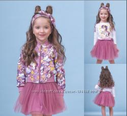 Комплект Единорог бомбер, джемпер, юбка для девочки ТМ Зиронька