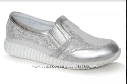 Серебристые кожаные кроссовки туфли девочки Palaris 33, 34, 35, 36, 37 разм