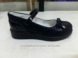 Туфли кожаные синие и черные для девочки Shagovita Шаговита