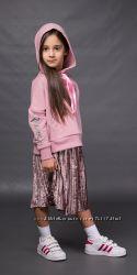 Комплект лосины, толстовка и юбка плисе девочке, цвета пудра