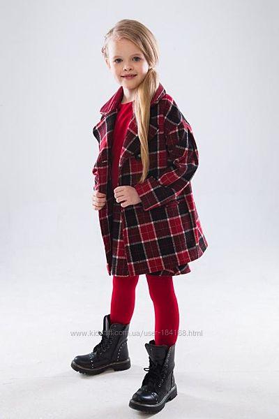 Стильне пальто в клітку Ніккі для дівчат р. 116-134см