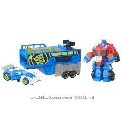 Трансформеры боты-спасатели Оптимус Прайм гоночный трейлер набор из 2 тран