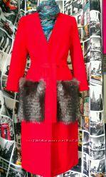 Яркое модное пальто с меховыми карманами, одежда из США, Италии, Украины