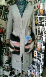 Пальто с яркими меховыми карманами, одежда, куртки, свитера из США, Украины