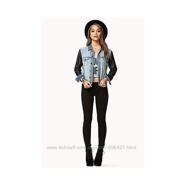 Forever 21, модный котоновый, джинсовый, пиджак, кожаные рукава,