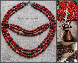 Комплект ожерелье и браслет из коралла и дерева Аромат кофе