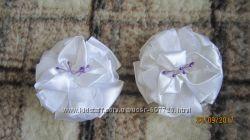 Новые белые банты на резинках ручная работа цена за пару