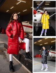 р.134-164 Шикарная зимняя удлиненная куртка деткая кодВ22