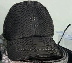мужская кепка, бейсболка из кожи питона