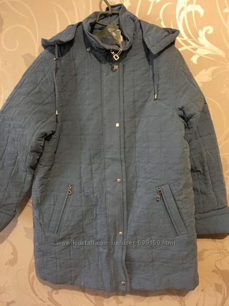 Женская удлинённая деми куртка с подстёжкой на зиму. 46-56р.