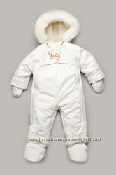 Детский зимний комбинезон-трансформер на меху Baby snow белый