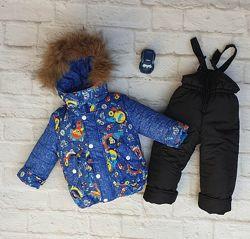 Зимний костюм на мальчика со съемной меховой жилеткой. Размеры 26-32.