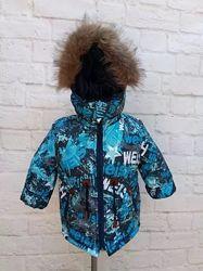 Зимняя куртка-парка на мальчика со съемной меховой жилеткой. Размеры 26-32.