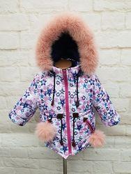 Зимняя куртка-парка на девочку со съемной меховой жилеткой. Размеры 26-32.