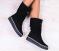 Ботинки, натуральная замша, высокие, зимние, черные