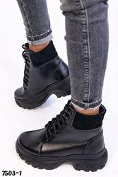 Ботинки натуральная кожа, деми и зима, черные