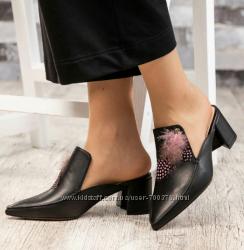 Мюли Modus Vivendi, натуральная кожа, на каблуке с декором, чёрные