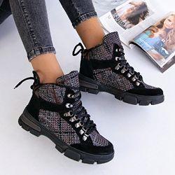 Ботинки стильные, натуральная замша, деми и зима