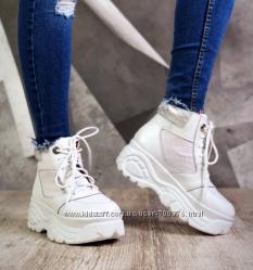 Ботинки Maxi Style, натуральная кожа, белые