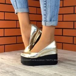 Туфли, натуральная кожа, на платформе, золото