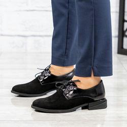 Туфли, натуральная замша и лаковая кожа, черные