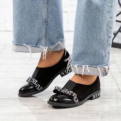Туфли с бантом, натуральная замша и лак, черные