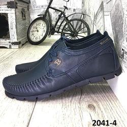 Мокасины мужские, на шнурках, натуральная кожа, синие