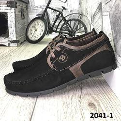 Мокасины мужские, на шнурках, натуральный нубук, черные