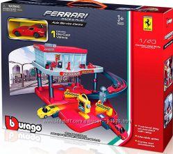 Bburago Игровой набор - ГАРАЖ FERRARI 2 уровня, 1 машинка 143