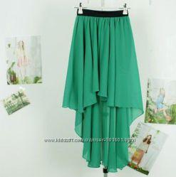 шифоновая юбка, цвет, зеленыйбутылочный