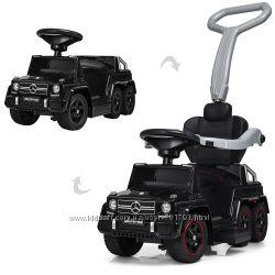 Детский двухместный электромобиль - толокар 2 в 1 Mercedes M 3853 EL, кож с