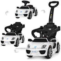 Детский толокар-электромобиль 2 в 1 Porsche M 3592L-2, кожанное сиденье