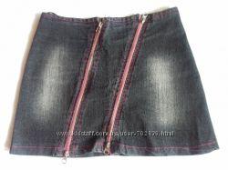 Джинсовая женская мини юбка с замками