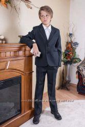 Школьный костюм брюки пиджак 128, 134, 140, 146 черный фактура